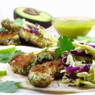 Fried Avocado Tacos with Mango Lime Slaw