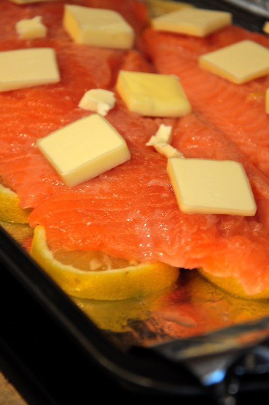 The salmon - before being fully enclosed in foil and baked.