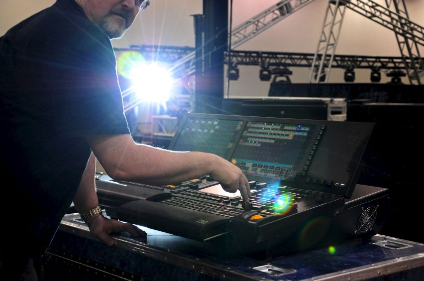 Keith bringing the stage truss lights to life!