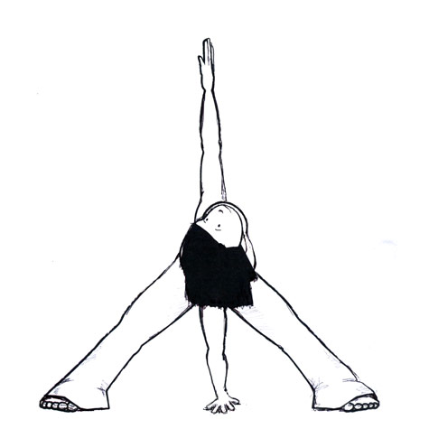 Wide-Legged Standing Forward Bend with a Twist