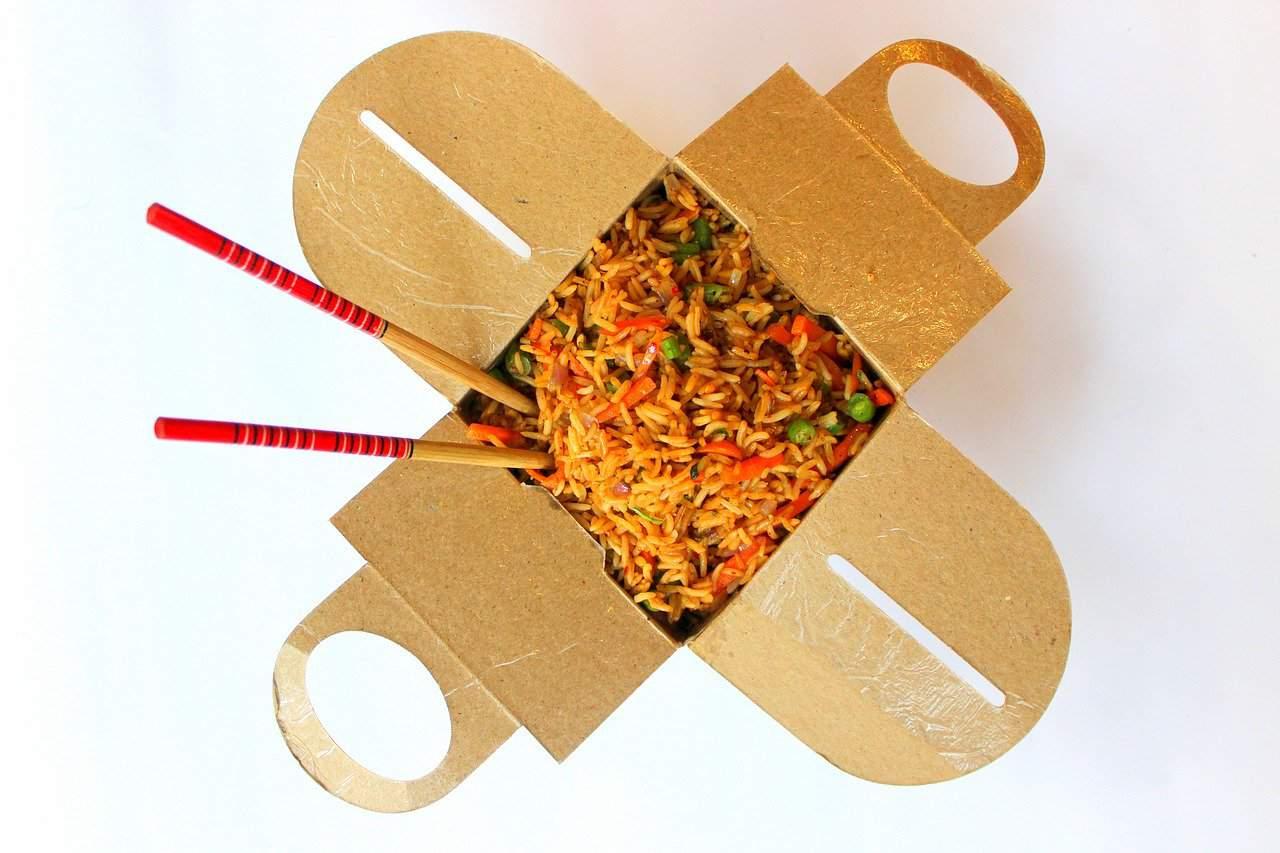 Fried rice in takeaway box