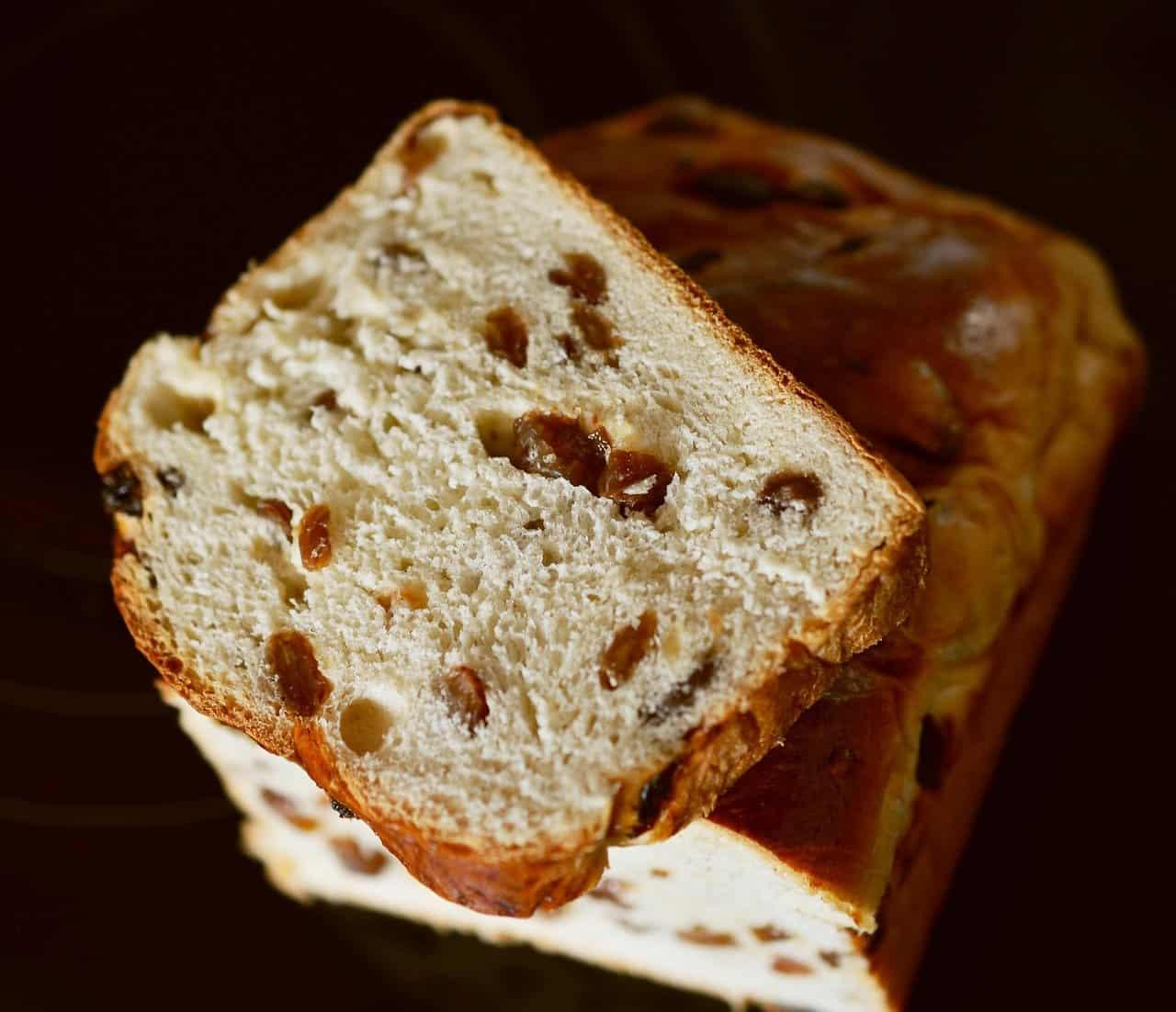 Raisin bread slice
