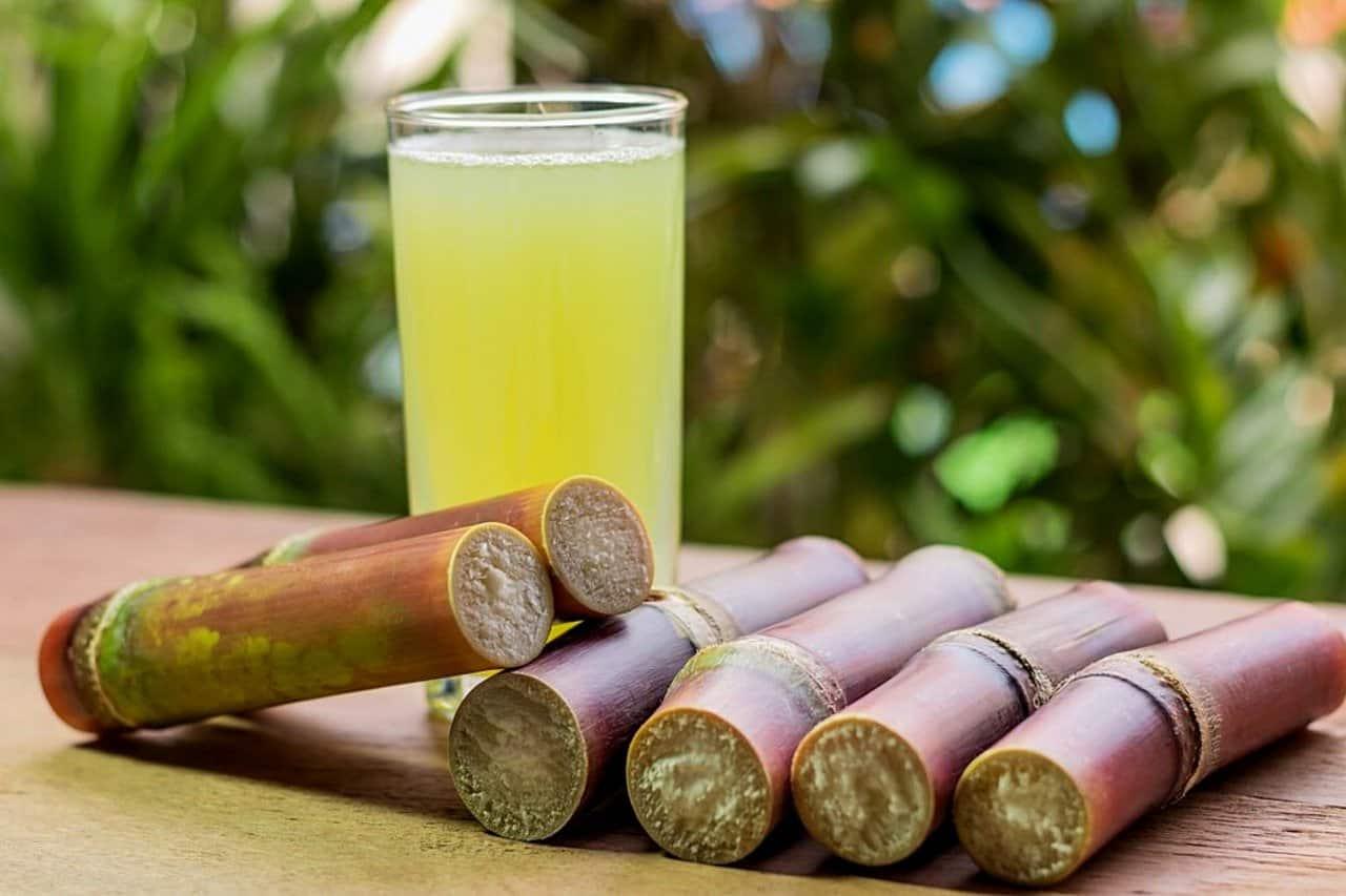 Sugarcane juice with stalks