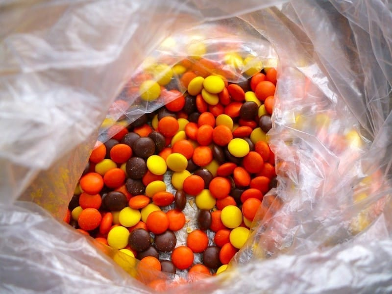 Reese's Pieces in plastic bag