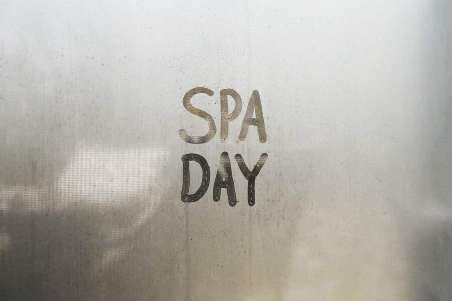 Spa day lettering written in steam