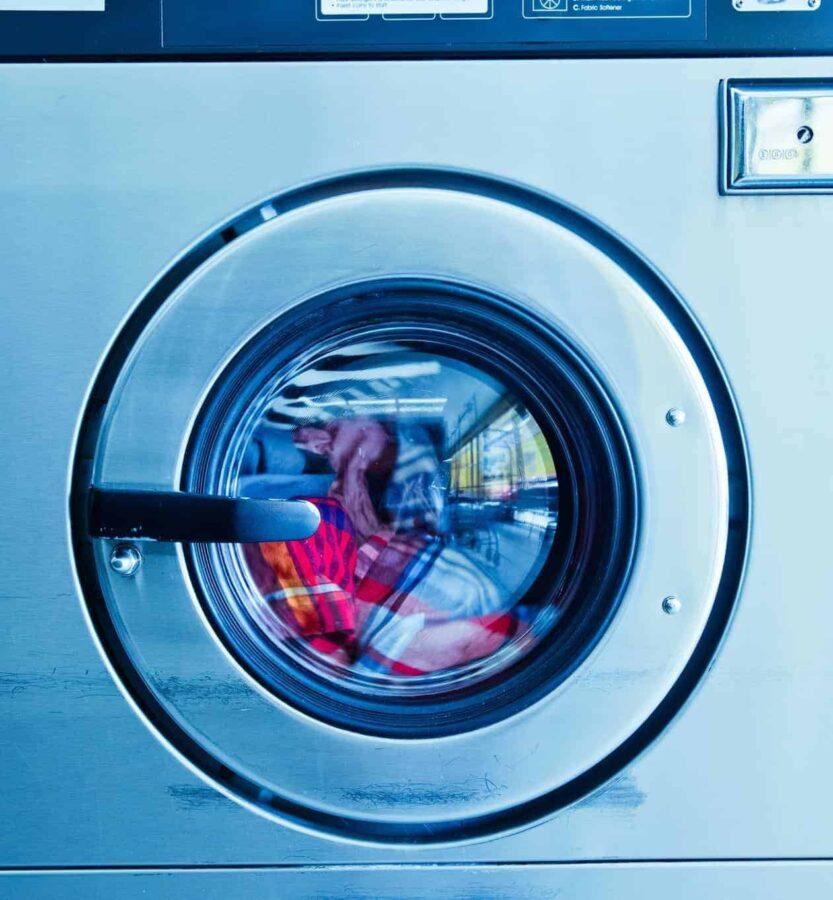 Gray front load washing machine
