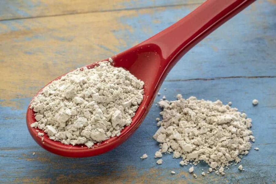 food grade diatomaceous earth supplement - stoneware teaspoon of powder