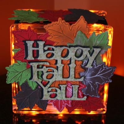Glass Block Decorated Using Gypsy & Cricut