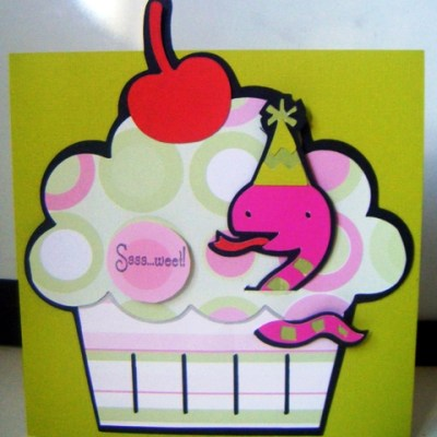 Featured Designer – Cricut Create a Critter Snake in Cupcake Card Using Lots of Pun Stamp Set
