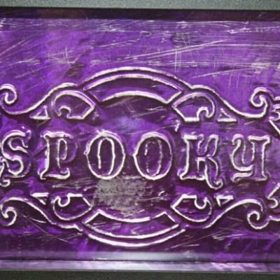 Embossed Metal Cri-Kits Halloween Sign