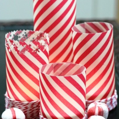 Peppermint Stick Tealight Candles with Cardstock Vellum
