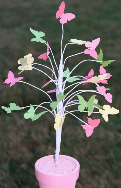 dollar store butterfly tree for Easter