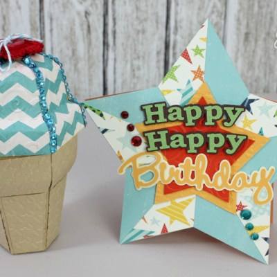 Ice Cream Cone Gift Box & Star Birthday Card