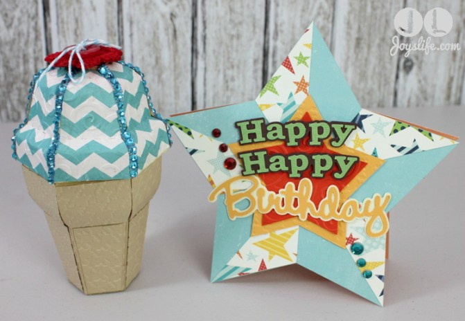 Ice Cream Cone Gift Box Star Birthday Card Joys Life