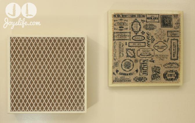 Burlap and Paper Wall Art from 12×12 Kraft Boxes #SEI #Burlap #DIY #WallArt