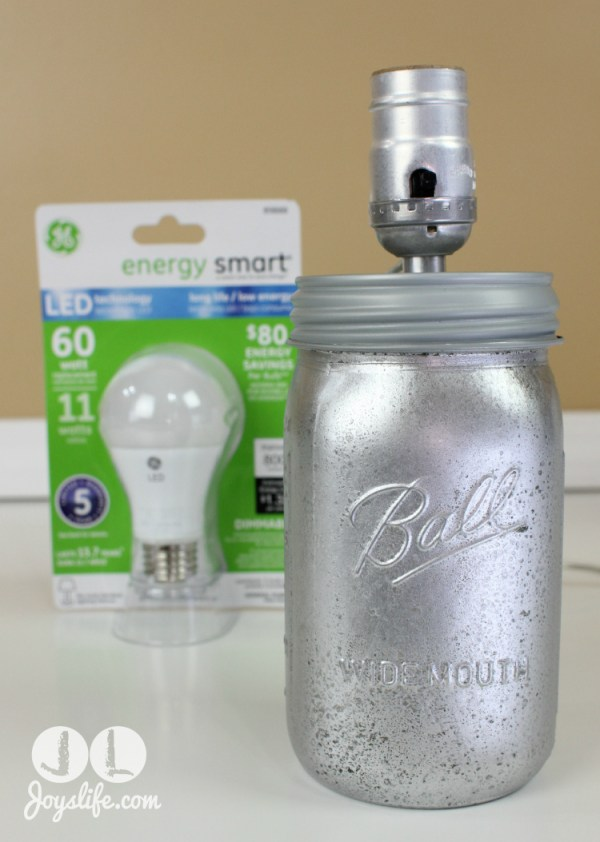 DIY Shabby Chic Silver Mason Jar Lamp with LED Power #LEDSavings #shop #cbias