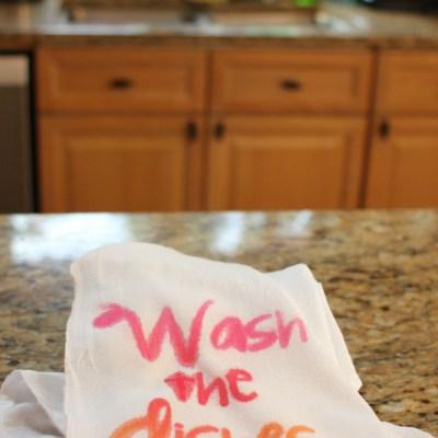 Wash the Dishes Kitchen Towel with SEI Tumble Dye