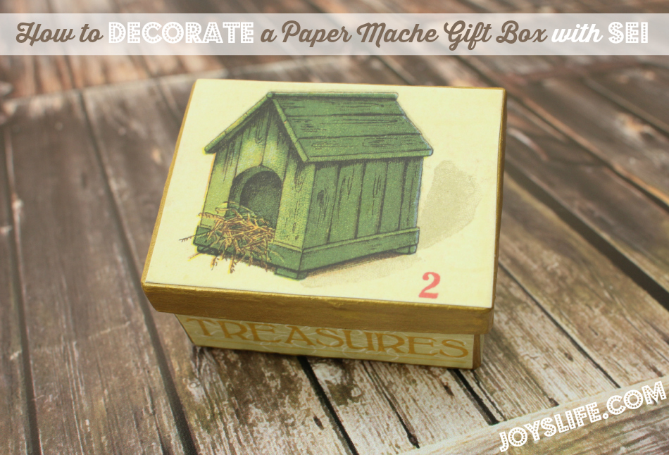 How to Decorate a Paper Mache Gift Box with SEI #papermache #ModPodge #SEI #crafts