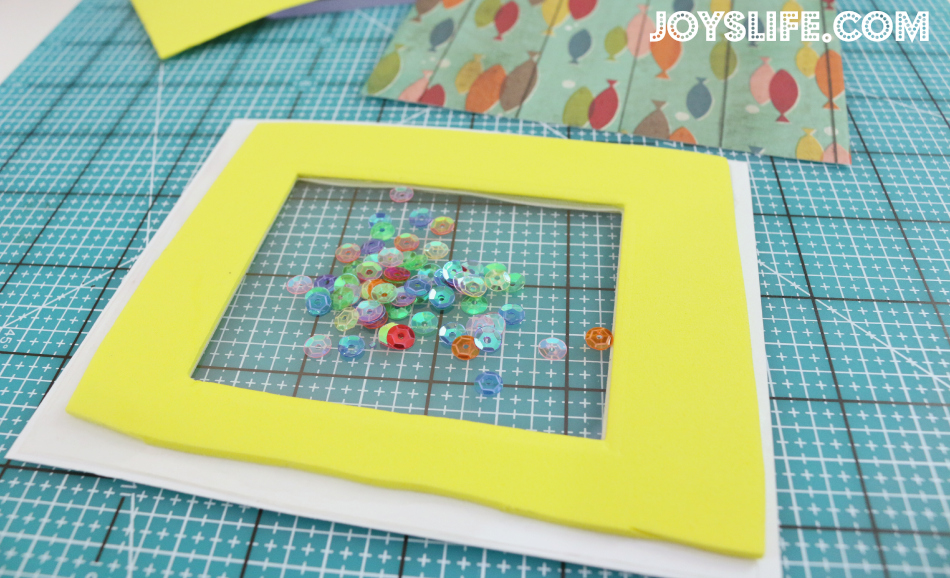 Xyron & Perfect Paper Crafting Blog Hop - Fish You Were Here Sequin Shaker Card #Xyron #PerfectLayers #Joyslifestamps #Sequin #ShakerCard #fishingcard