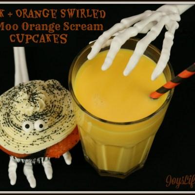 Black & Orange Swirled TruMoo Orange Scream Cupcakes