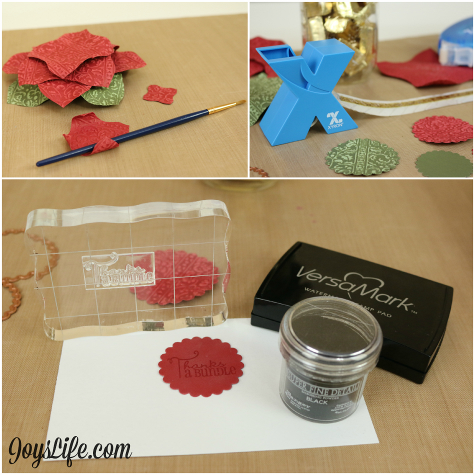 Poinsettia Mason Jar Topper with Spellbinders & Xyron #Spellbinders #Xyron #Poinsettia #CutNBoss #Coredinations