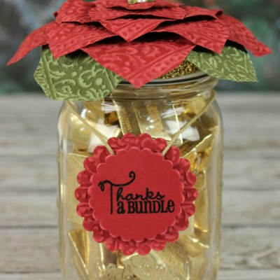 Poinsettia Mason Jar Topper with Spellbinders & Xyron