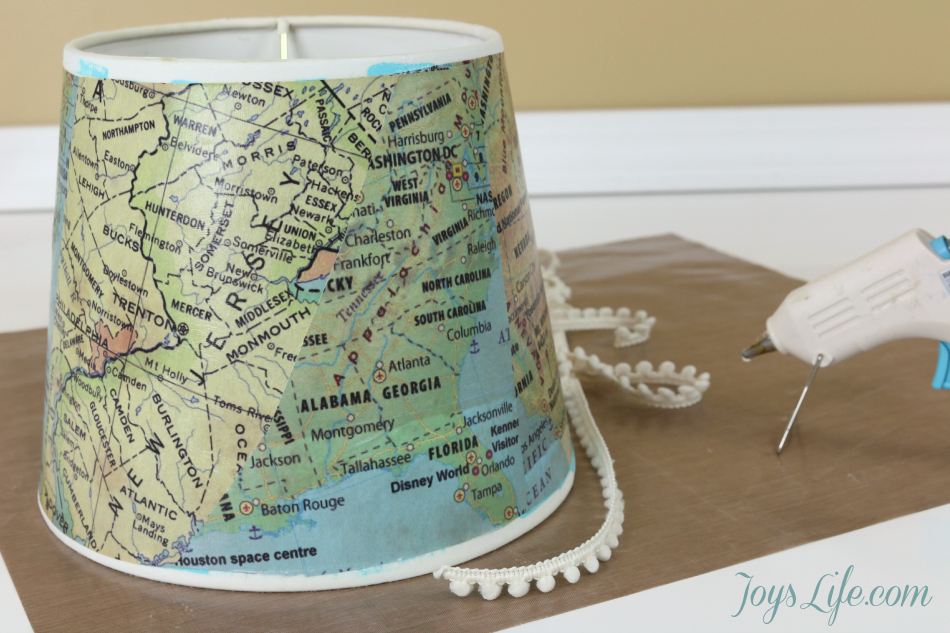 Map Paper Lamp Shade Makeover ModPodge DIY Lampshade