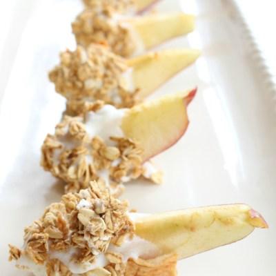 Granola & Yogurt Dipped Frozen Apple Slices