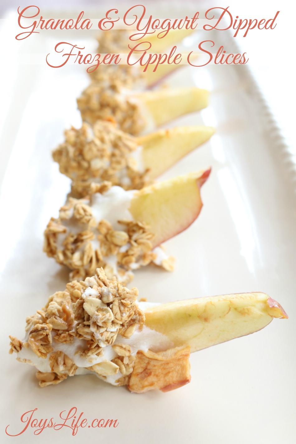 Granola & Yogurt Dipped Frozen Apple Slices #FueledByGranola #Ad