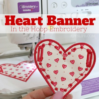 Heart Banner In the Hoop Embroidery