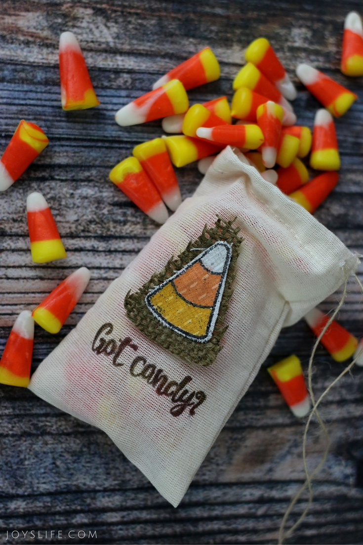 Candy Corn Stamped Fabric Bag