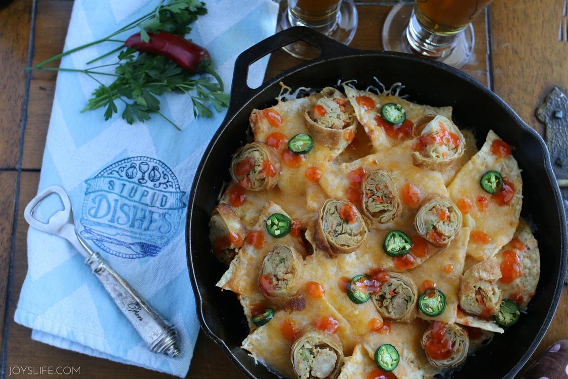eggroll nacho beer dinner date night in