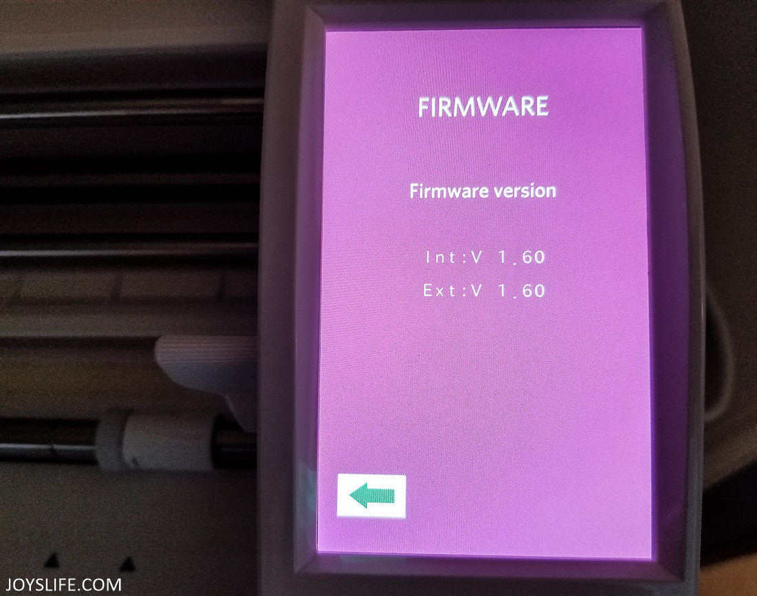 Silhouette Cameo current firmware version purple screen