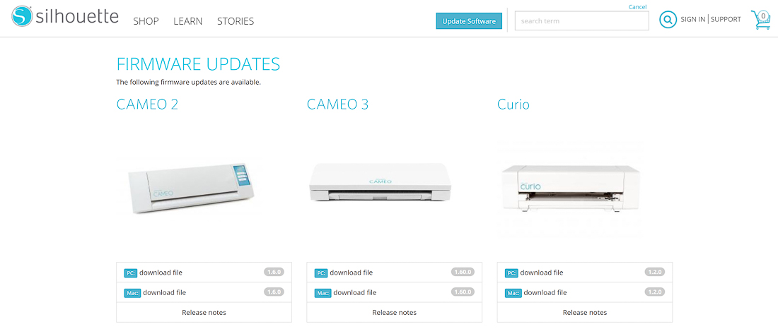 update firmware on silhouette cameo 3