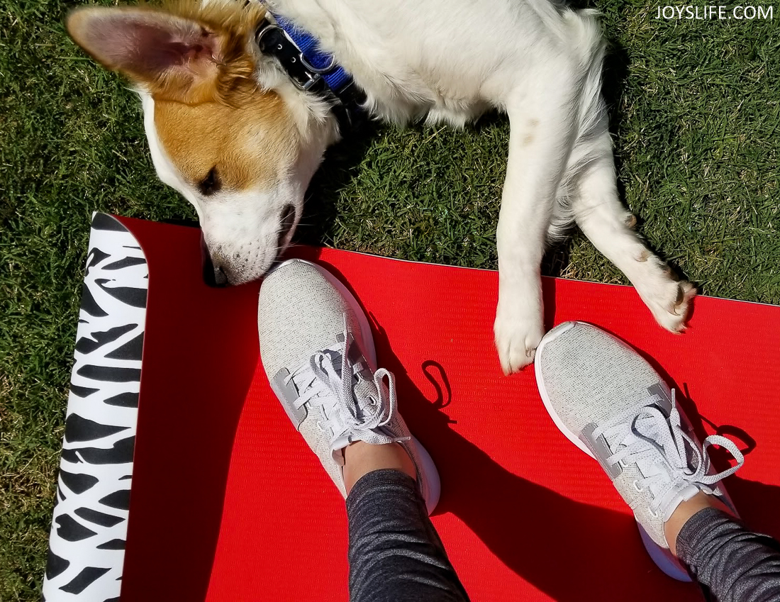 Yoga with Reebok Trilux and puppy paws