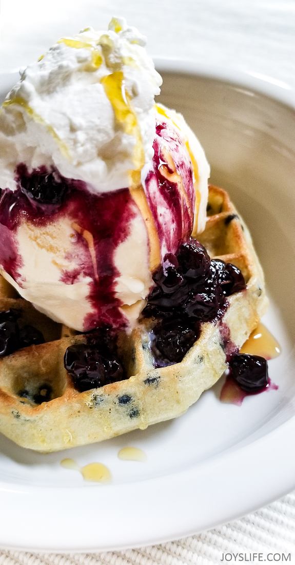 fresh blueberry compote ice cream waffle dessert