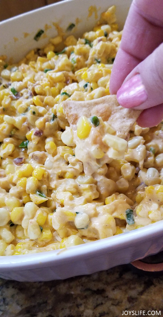 Tabasco Cheesy Hot Corn Dip on Pita Chip