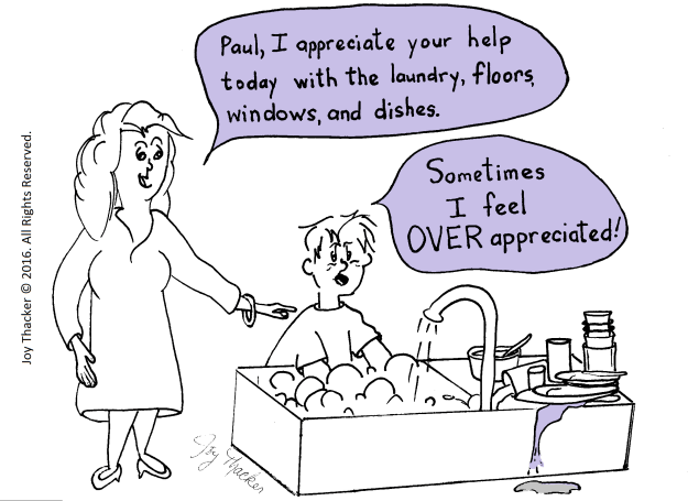 Humorous cartoon of child helping mom with housework.