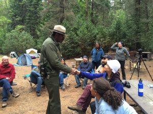 National Park Ranger Shelton Johnson welcomes visitors to Yosemite
