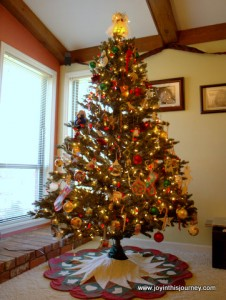 Christmas tree with skirt beneat