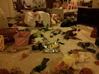 toy-strewn basement