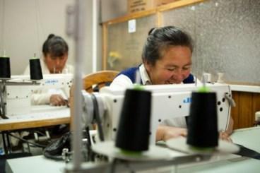 Bolivian women sewing