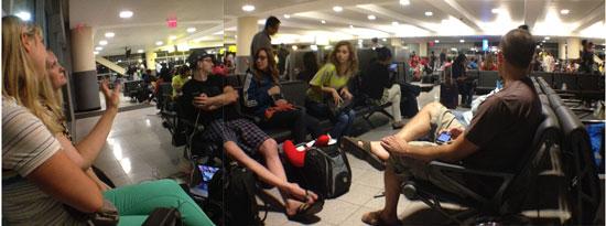 team waiting at JFK