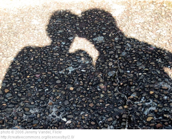 shadow of a couple kissing