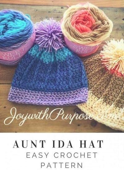 Crocheted hats in the Aunt Ida Hat pattern in blues and tans