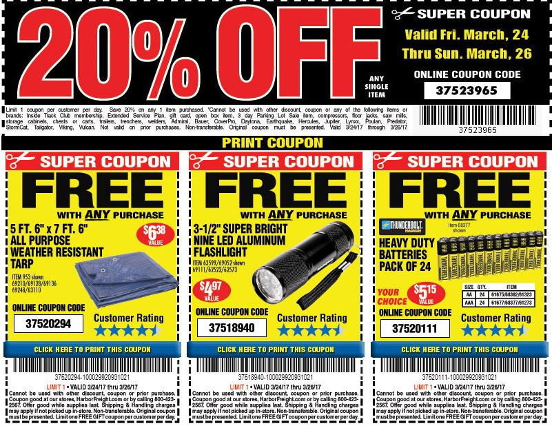 It's just an image of Divine Printable Harbor Freight 20 Off Coupon