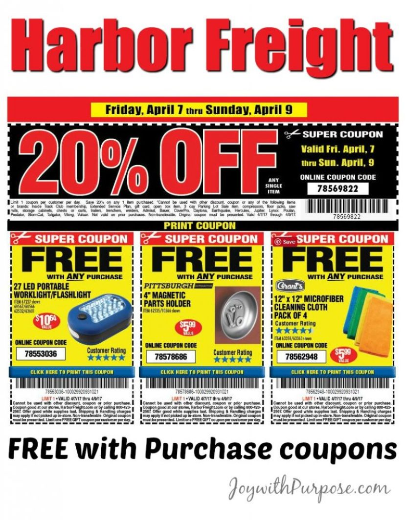 Harbor Freight Coupons for FREE items