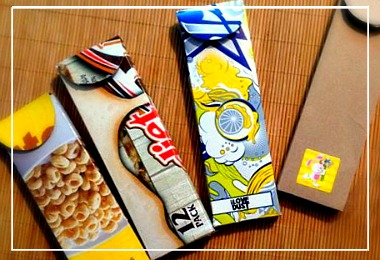 aking upcycled pencil cases from cereal and soda boxes