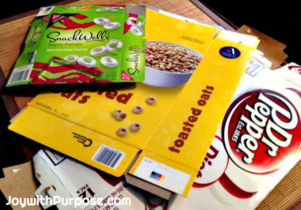 Upcycled Pencil Cases from cereal soda and snack boxes