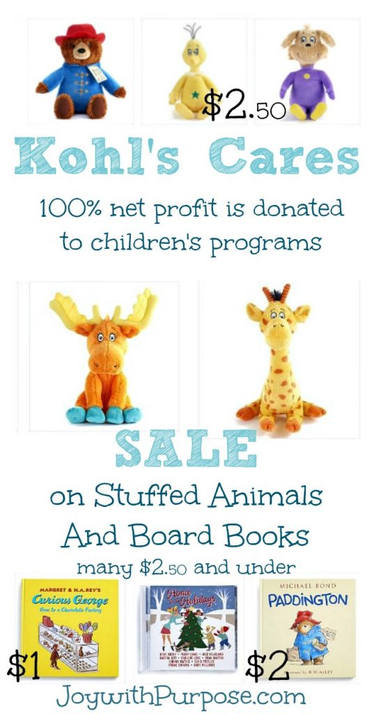 Kohl's Cares Stuffed Animals and Books are on sale